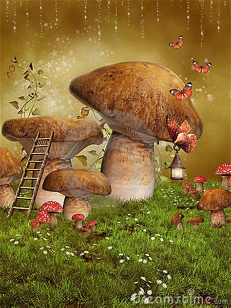 fantasy fairy mushrooms royalty  stock  image