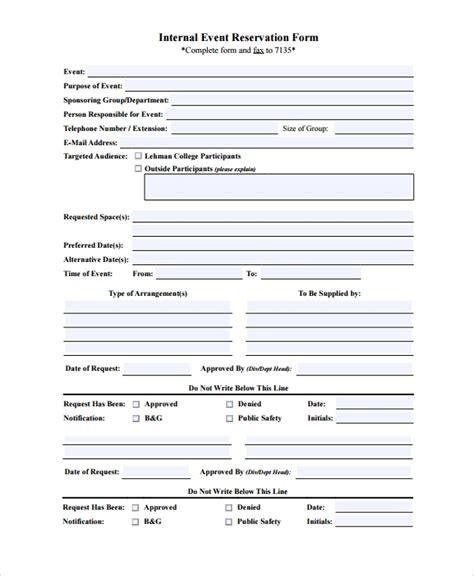 sample reservation forms