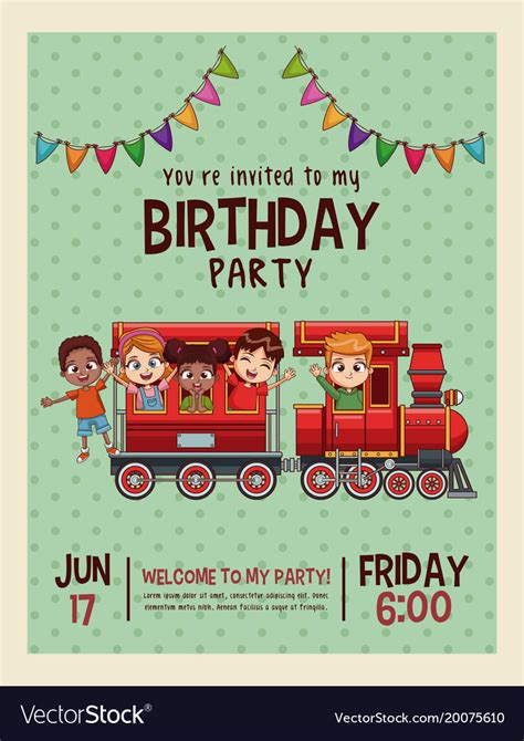 Happy birthday invitation blue card Royalty Free Vector