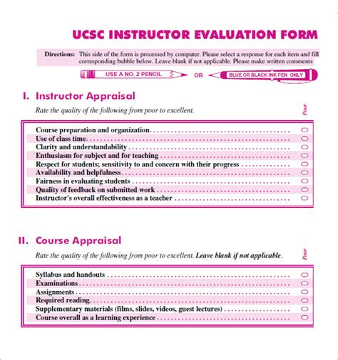 sample instructor evaluation forms   ms word