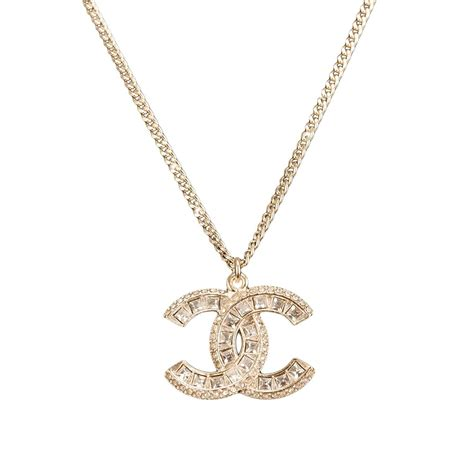 gold necklace for chanel swarovski logo pendant necklace at 1stdibs