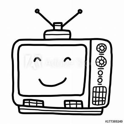 Cartoon Television Sketch Drawn Schwarzweiss Czarno Ilustracji