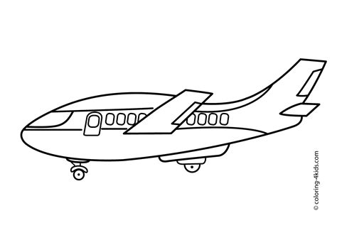 Big Airplane Transportation Coloring Pages For Kids
