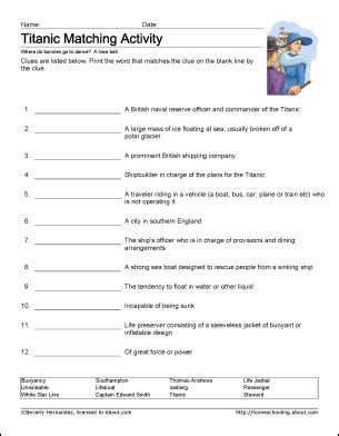 learn about the titanic with printable worksheets and