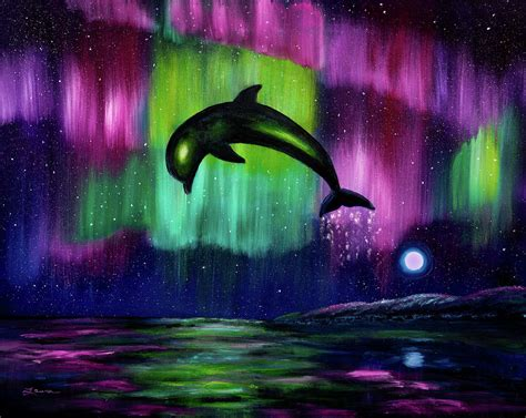 dolphin playing in northern lights painting by laura iverson