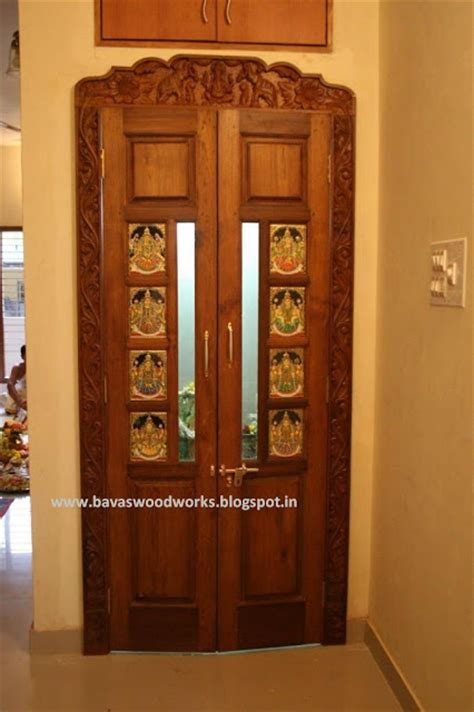 BAVAS WOOD WORKS: Pooja Room Door Frame and Door Designs