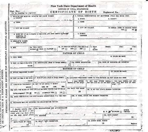 new york state birth certificate form 10 best images of new york death certificates template