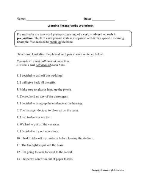 Englishlinxcom  Verbs Worksheets