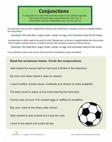 using conjunctions worksheet education
