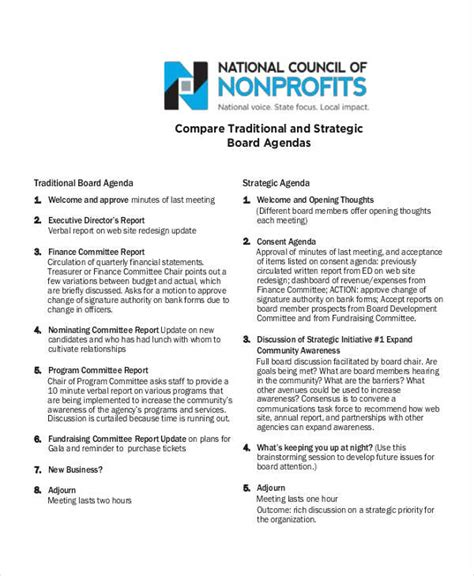 non profit board meeting agenda 6 exles of nonprofit agendas