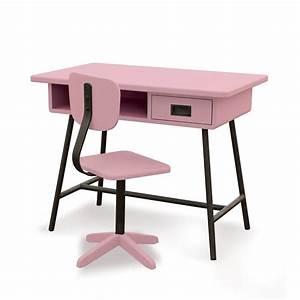 Chaise Bureau Rose : bureau la classe et chaise d 39 atelier vieux rose laurette pour chambre enfant les enfants du ~ Teatrodelosmanantiales.com Idées de Décoration