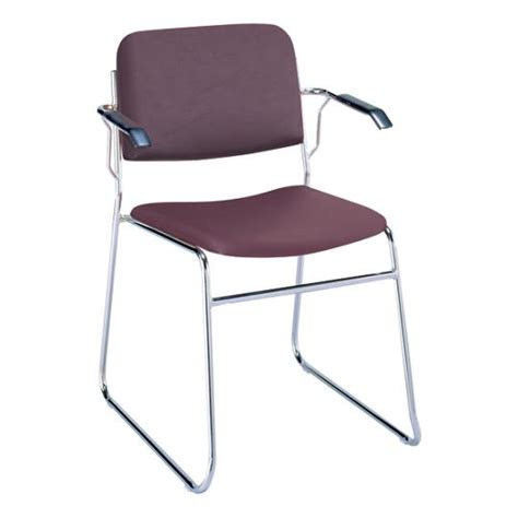 kfi seating sled base stack chair vinyl w arms 321