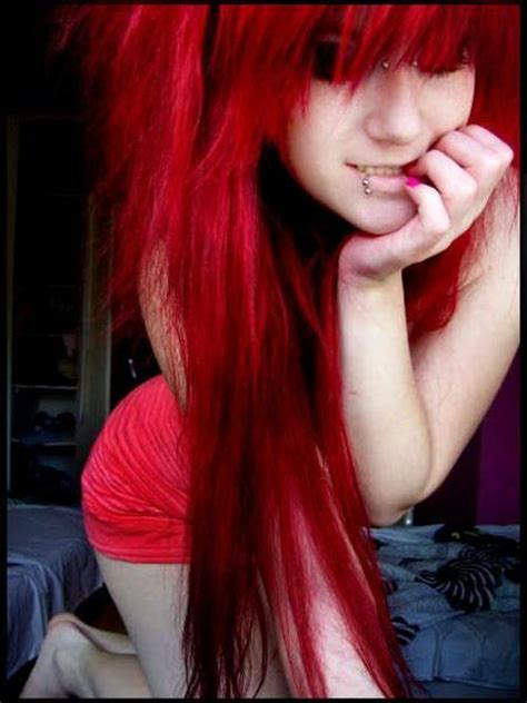 Bright Red Long Scene Hair Hair Colors Ideas