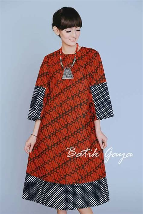 tampilan model dress motif batik casual linen dresses
