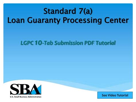 Loan Modification Processing Center by Ppt Standard 7 A Loan Guaranty Processing Center