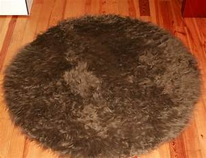 tapis rond en peau de mouton synthetique marron With tapis peau de mouton synthétique