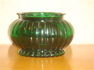 a l r co green glass ribbed bowl vase