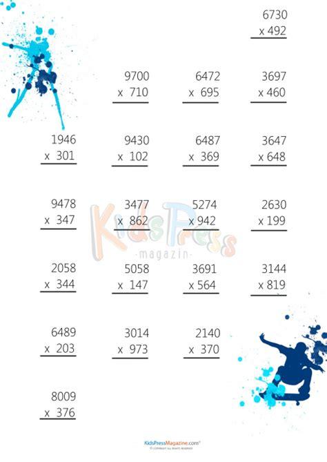digit multiplication math worksheet multiplication worksheet 3 digit by 4 digit 3