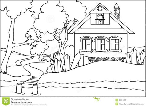 Kleurplaat House Warming by Color Book The House At The River Stock Vector