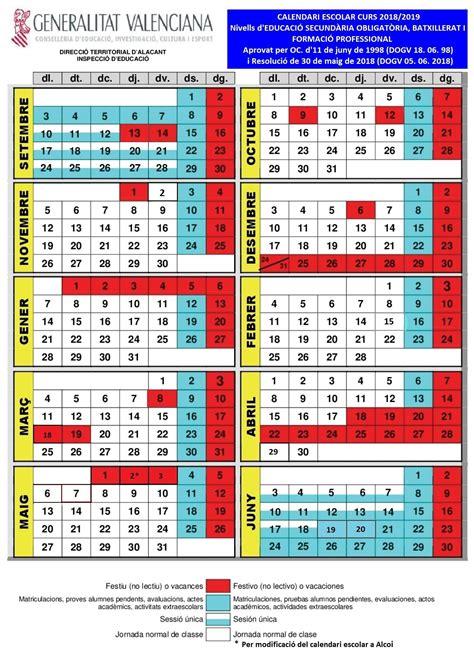 calendario escolar curso ajuntament de sant joan dalacant