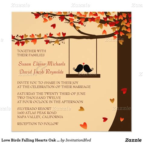 Love Birds Falling Hearts Oak Tree Wedding Invite Zazzle