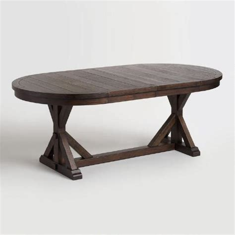world kitchen table rustic brown oval wood brooklynn extension dining table