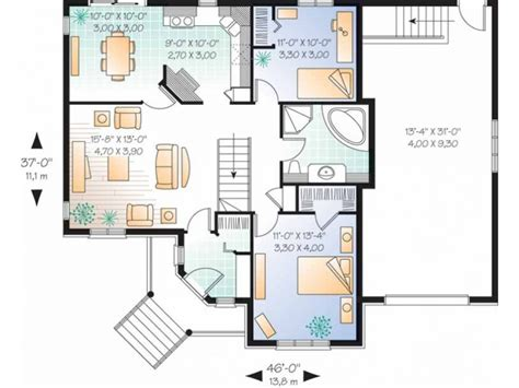 level house plans 3 bedroom with staircase 2 bedroom single