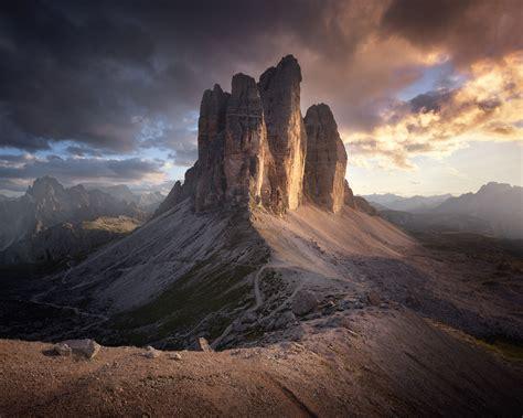 Tre Cime Di Lavaredo At Sunset Dolomites Alps Italy Europe