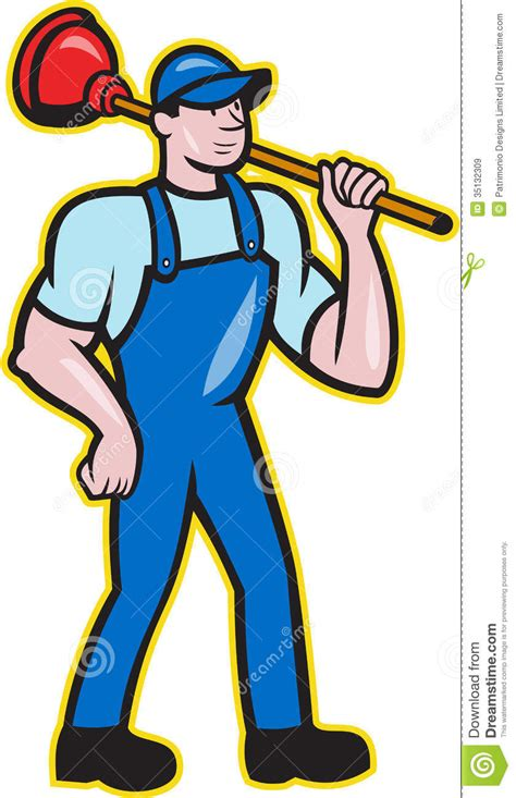 plumber holding plunger standing cartoon royalty