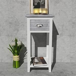Meuble Pour Téléphone : la boutique en ligne table de chevet meuble pour t l phone avec 1 tiroir gris blanc ~ Teatrodelosmanantiales.com Idées de Décoration