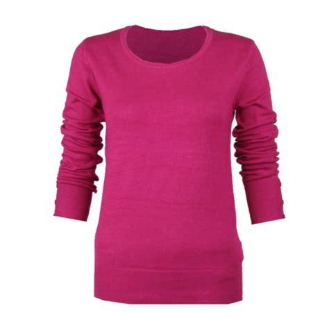 fuchsia sweater fuschia pink crew neck sleeve smart jumper
