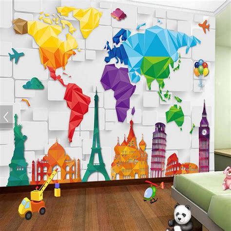 aliexpress buy bedroom wallpaper colorful map