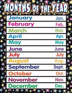 Fancy Stars Months Of The Year Chart
