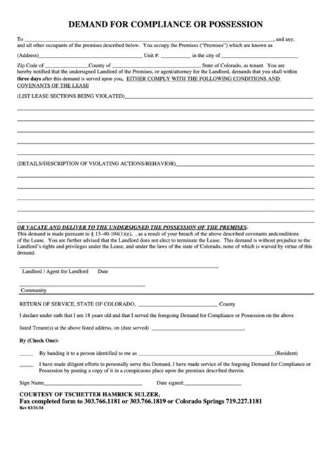 fillable demand  compliance  possession letter