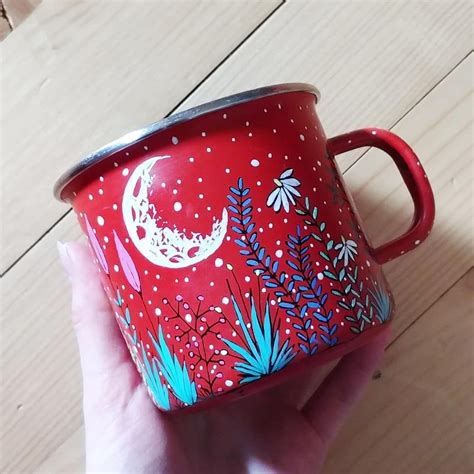 Don't be the nagging host who follows guests around surreptitiously slipping coasters under their. Few old mugs left to be painted 🌿🌙 . . . Enamel mug, moon mug, moon illustration, nature art ...