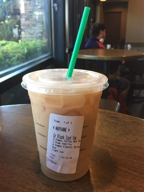 Complete nutrition information for grande iced black tea from starbucks including calories, weight watchers points, ingredients and allergens. My usual: grande iced black tea, 2 pumps toffee nut, 1 pump vanilla, 1 pump classic, soy instead ...