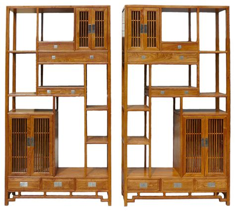 Asian Bookcase by Large Pair Huali Rosewood Display