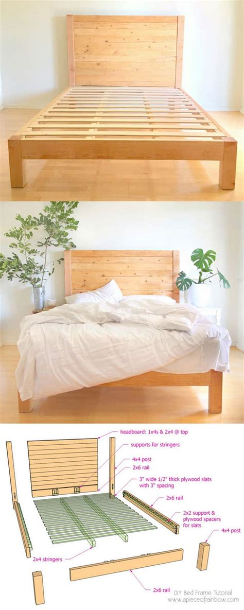 How To Make A Bed Frame With Headboard And Footboard by Diy Bed Frame And Wood Headboard A Of Rainbow