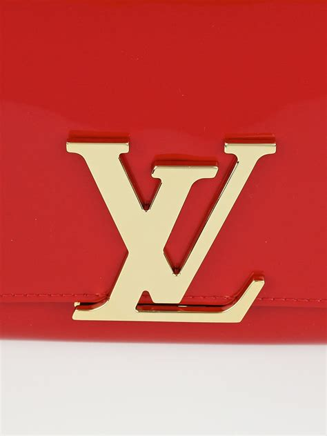 louis vuitton red patent leather louise clutch bag yoogis closet