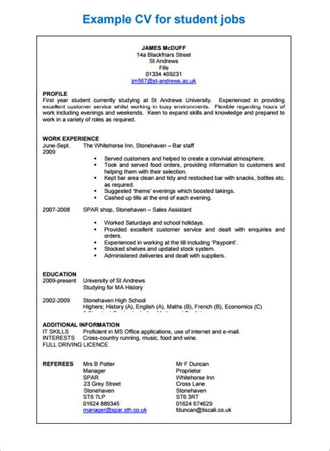A Free Cv Template by Sle Professional Cv 8 Free Documents In Pdf Word