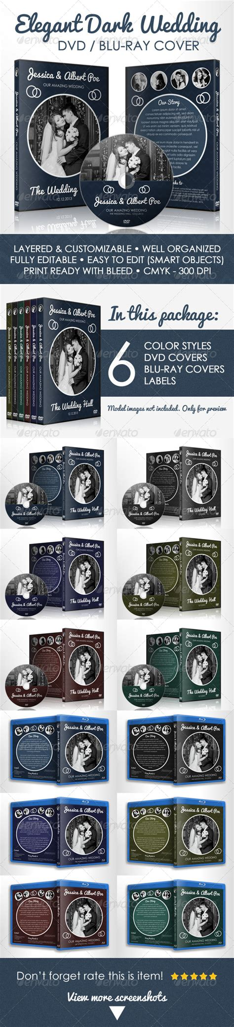 Elegant Dark Wedding Dvd  Bluray Cover Template