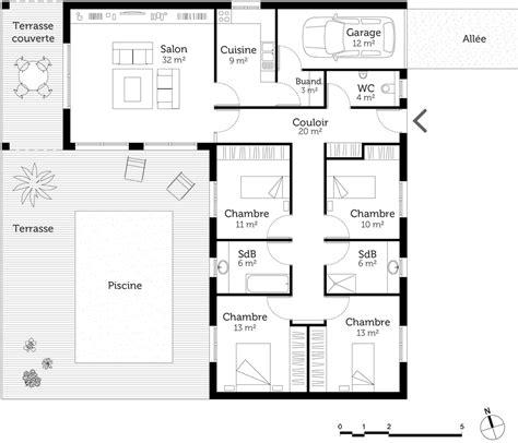 maison avec 4 chambres plan maison en l avec 4 chambres ooreka