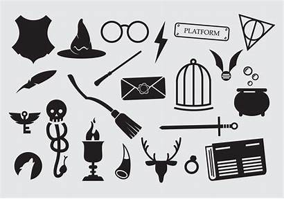 Potter Harry Icons Vector Wizard Hogwarts Clipart