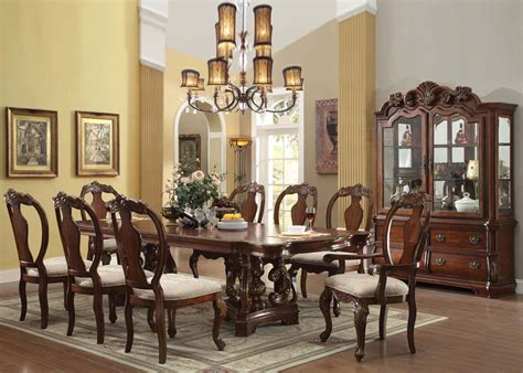 acme frederick pc double pedestal dining room set