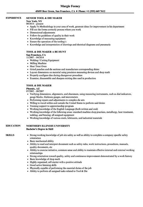 Resume Writing Tool by Tool Die Maker Resume Sles Velvet