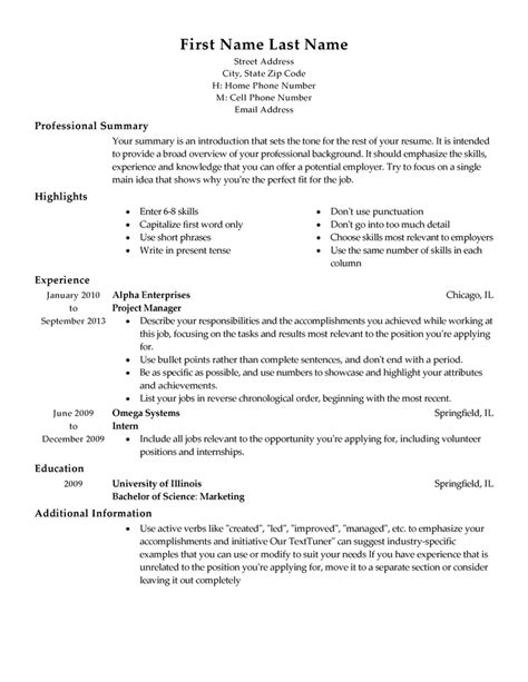 resume templates sles functional resume template 15