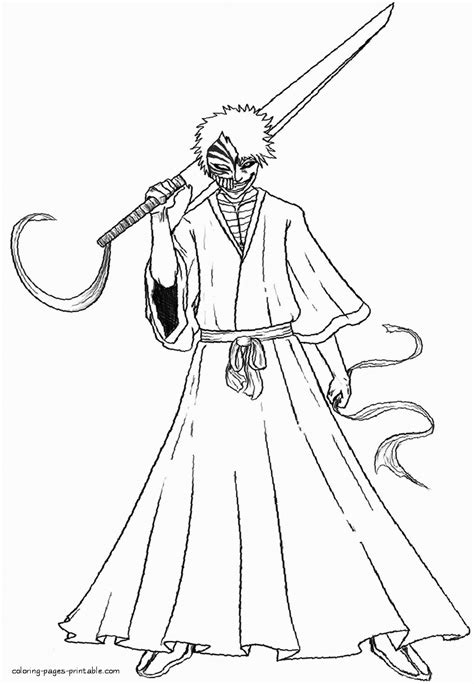 ichigo kurosaki coloring page coloring pages printablecom