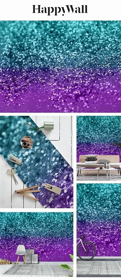 Teal Purple Mermaid Mural Happywall Backgrounds Glitter