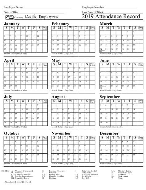 attendance record calendar template pacific
