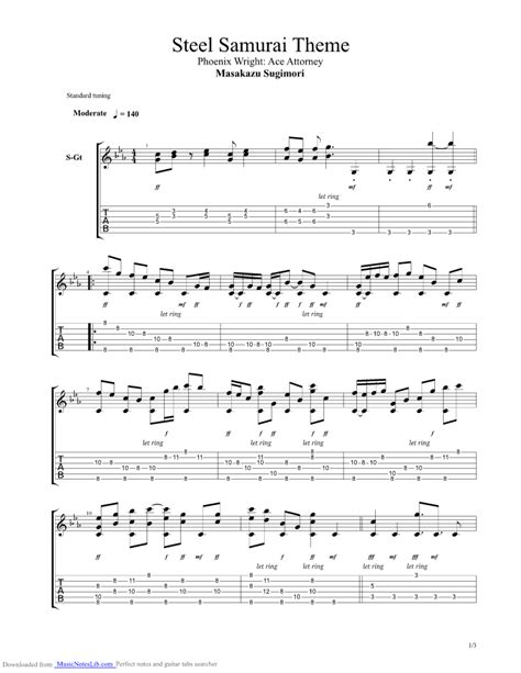 Ace Attorney - Steel Samurai Theme guitar pro tab by Misc